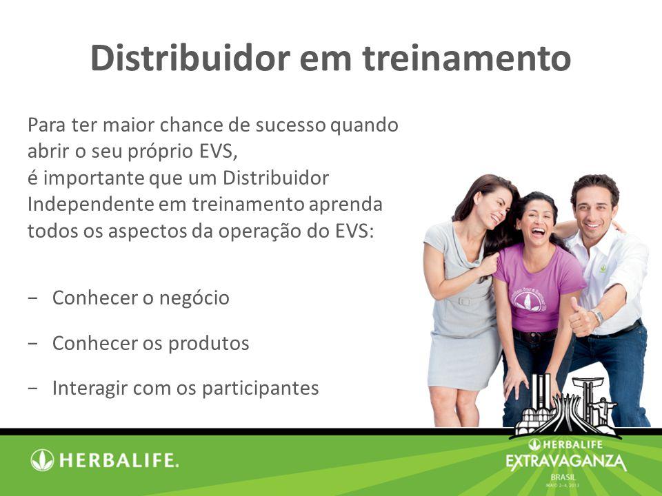 Distribuidor em treinamento Para ter maior chance de sucesso quando abrir o seu próprio EVS, é importante que um Distribuidor Independente em treinamento aprenda todos os aspectos da operação do EVS: Conhecer o negócio Conhecer os produtos Interagir com os participantes