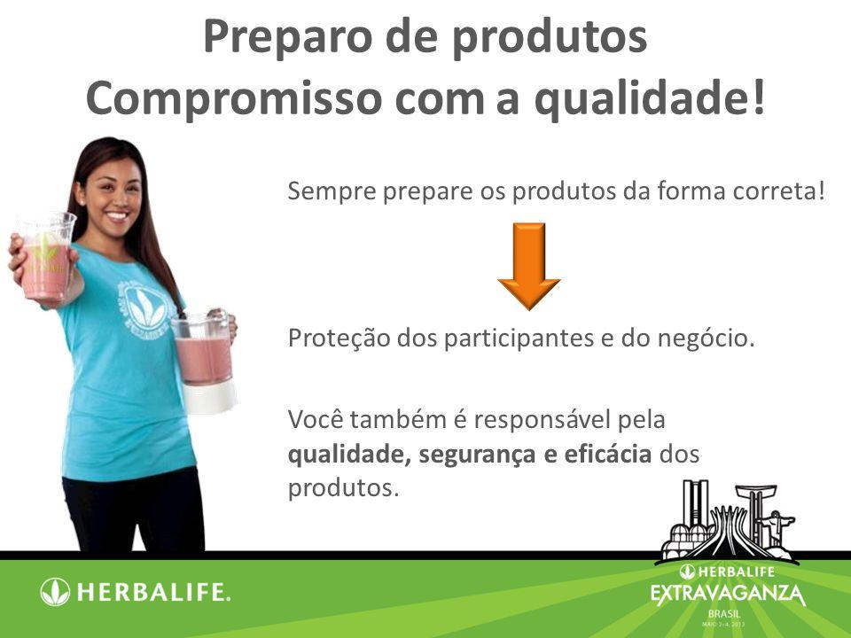 Preparo de produtos Compromisso com a qualidade.Proteção dos participantes e do negócio.