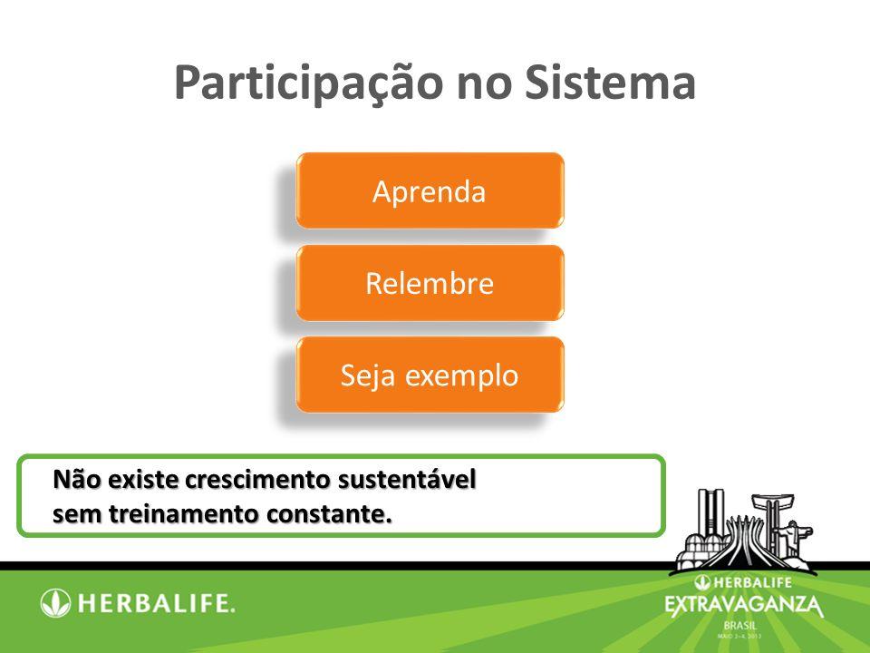 Participação no Sistema Não existe crescimento sustentável sem treinamento constante.