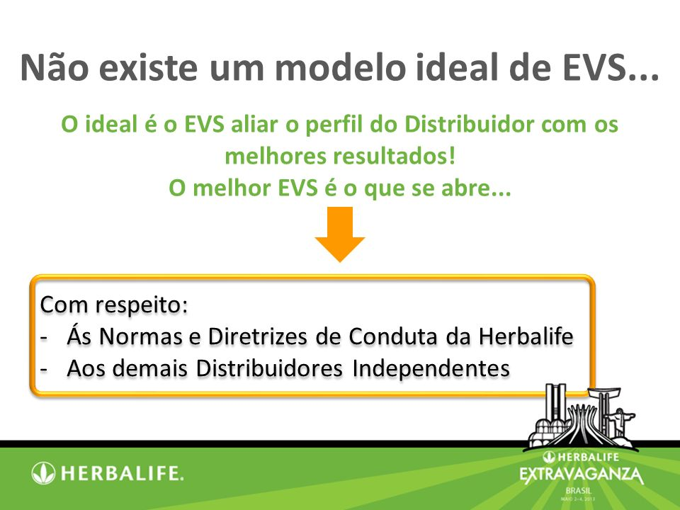 Com respeito: -Ás Normas e Diretrizes de Conduta da Herbalife -Aos demais Distribuidores Independentes Com respeito: -Ás Normas e Diretrizes de Conduta da Herbalife -Aos demais Distribuidores Independentes Não existe um modelo ideal de EVS...