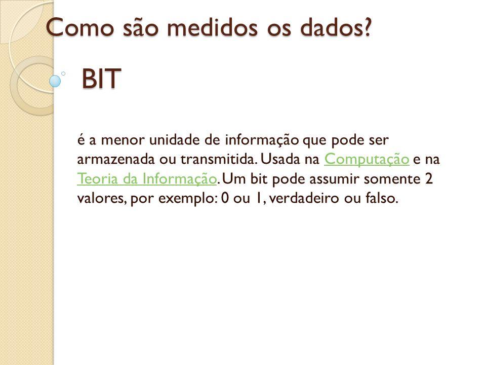BIT é a menor unidade de informação que pode ser armazenada ou transmitida. Usada na Computação e na Teoria da Informação. Um bit pode assumir somente