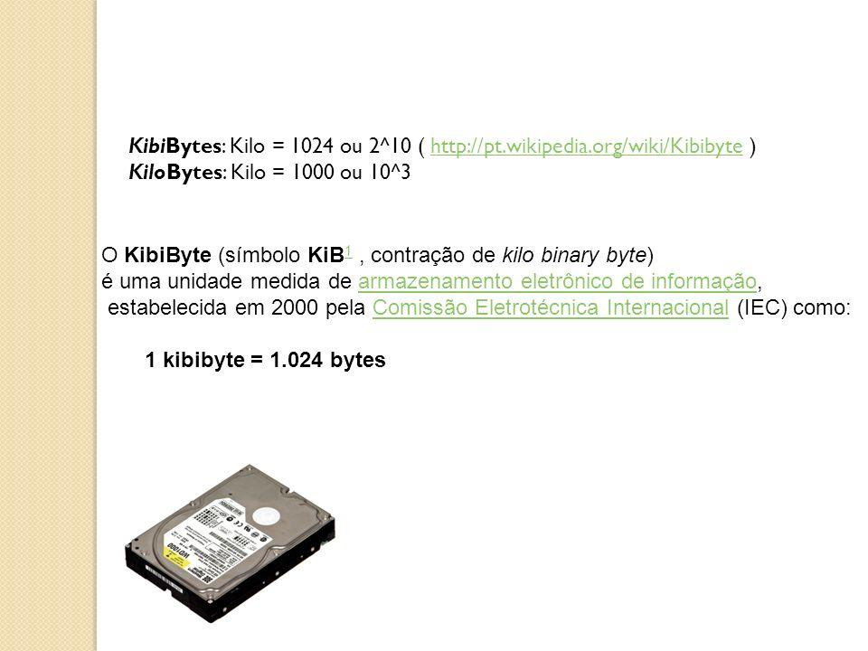 KibiBytes: Kilo = 1024 ou 2^10 ( http://pt.wikipedia.org/wiki/Kibibyte ) KiloBytes: Kilo = 1000 ou 10^3http://pt.wikipedia.org/wiki/Kibibyte O KibiByt