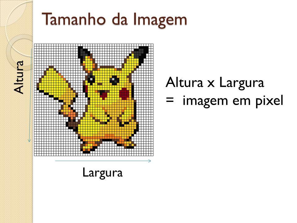 Altura Largura Altura x Largura = imagem em pixel Tamanho da Imagem