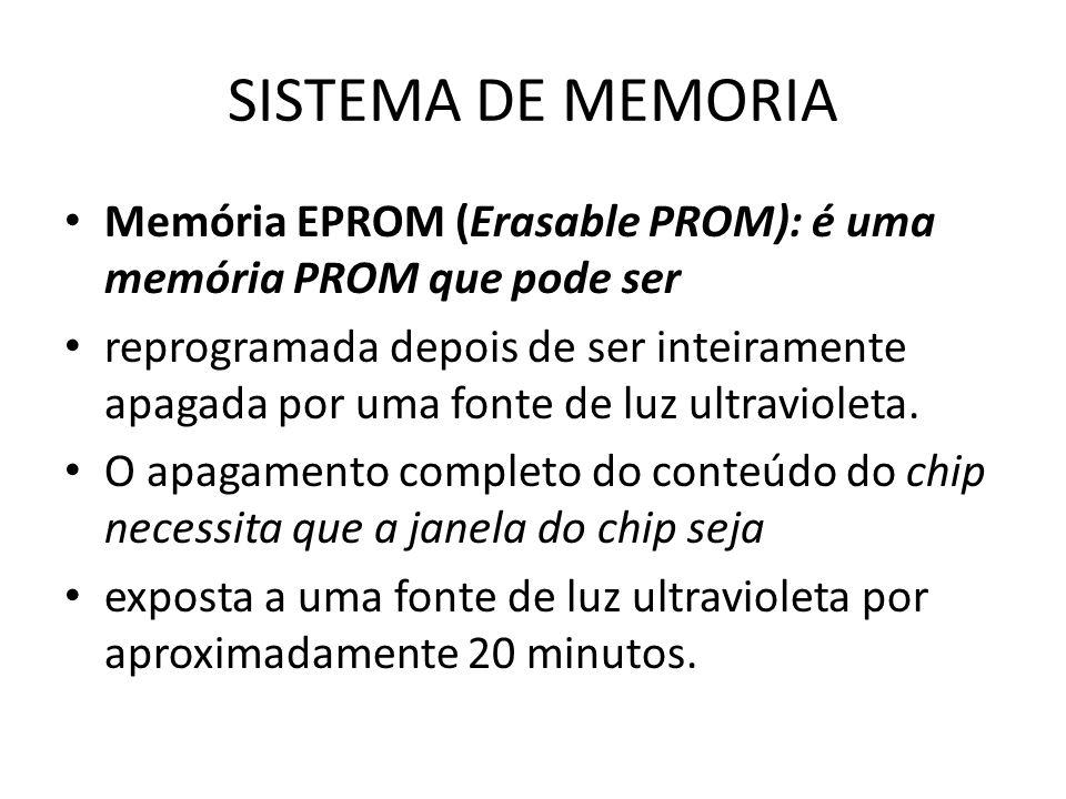 SISTEMA DE MEMORIA Memória EPROM (Erasable PROM): é uma memória PROM que pode ser reprogramada depois de ser inteiramente apagada por uma fonte de luz
