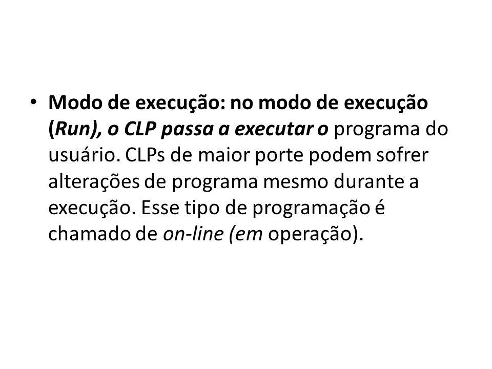 Modo de execução: no modo de execução (Run), o CLP passa a executar o programa do usuário. CLPs de maior porte podem sofrer alterações de programa mes