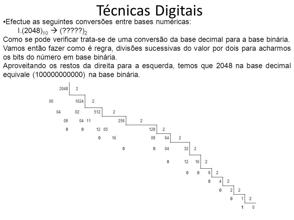 Técnicas Digitais 20482 0010242 04025122 0804112562 0012051282 01608642 0004322 012162 0082 042 022 012 10 Efectue as seguintes conversões entre bases