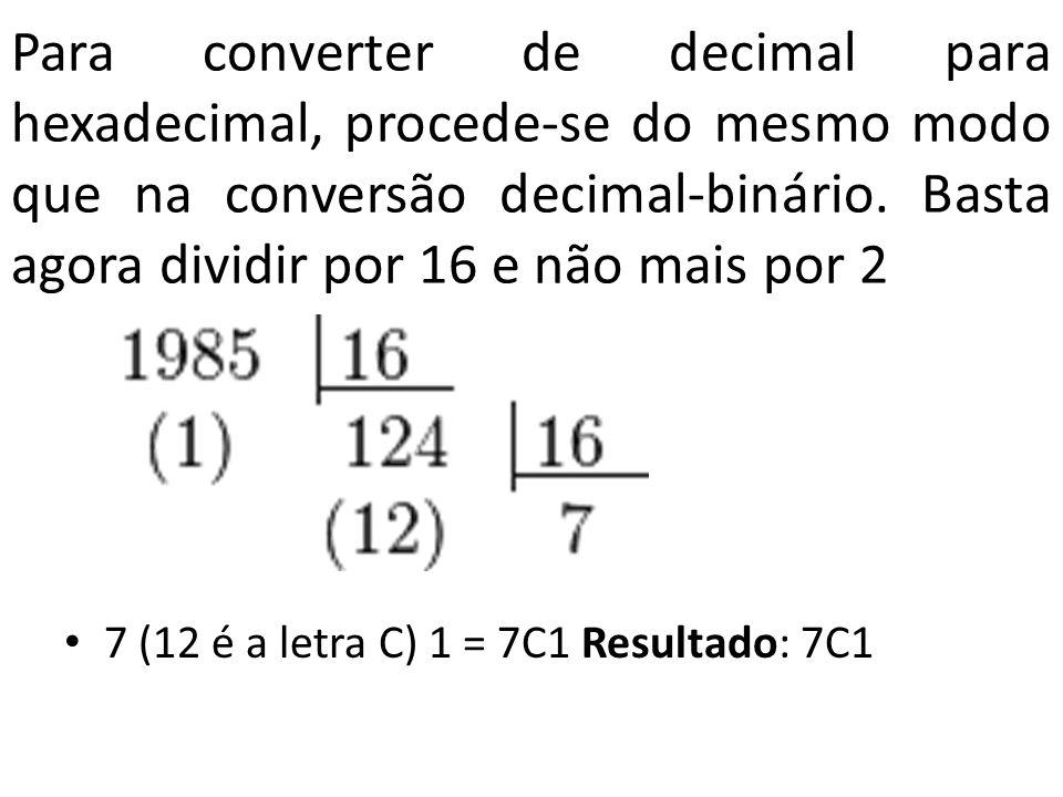 Para converter de decimal para hexadecimal, procede-se do mesmo modo que na conversão decimal-binário. Basta agora dividir por 16 e não mais por 2 7 (