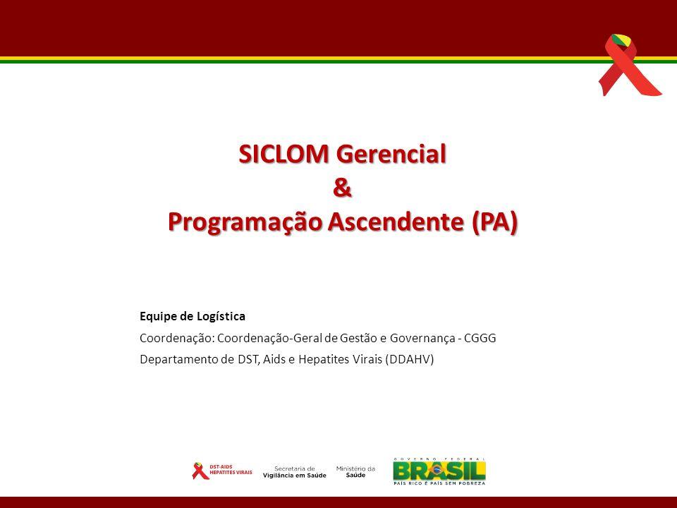 Equipe de Logística Coordenação: Coordenação-Geral de Gestão e Governança - CGGG Departamento de DST, Aids e Hepatites Virais (DDAHV) SICLOM Gerencial & Programação Ascendente (PA)