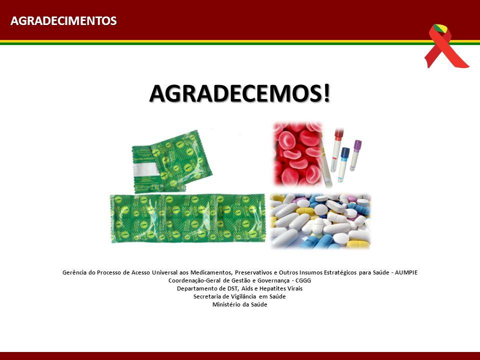 AGRADECEMOS! Gerência do Processo de Acesso Universal aos Medicamentos, Preservativos e Outros Insumos Estratégicos para Saúde - AUMPIE Coordenação-Ge