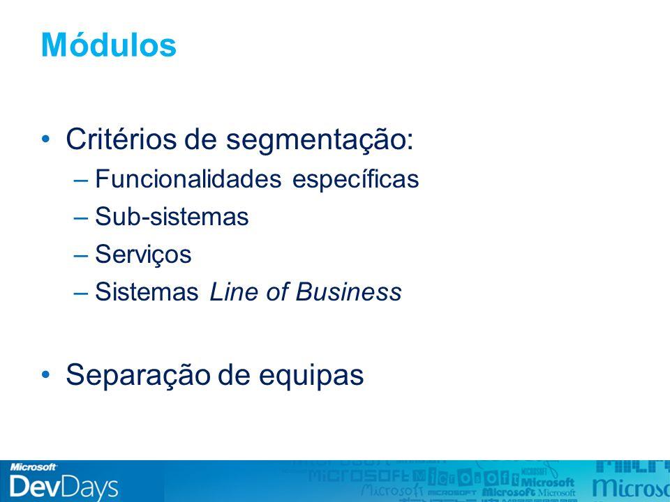 Módulos Critérios de segmentação: –Funcionalidades específicas –Sub-sistemas –Serviços –Sistemas Line of Business Separação de equipas