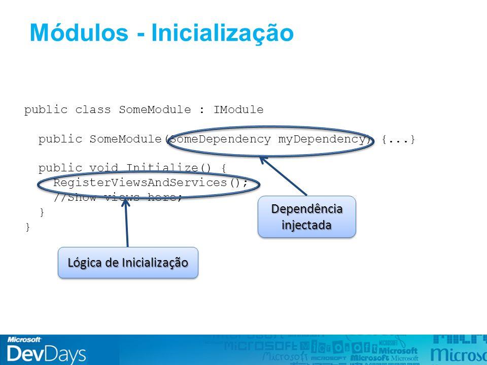 Módulos - Inicialização public class SomeModule : IModule public SomeModule(SomeDependency myDependency) {...} public void Initialize() { RegisterViewsAndServices(); //Show views here; } Dependência injectada Lógica de Inicialização