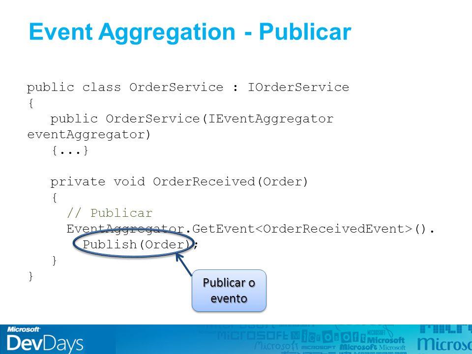Event Aggregation - Publicar public class OrderService : IOrderService { public OrderService(IEventAggregator eventAggregator) {...} private void OrderReceived(Order) { // Publicar EventAggregator.GetEvent ().