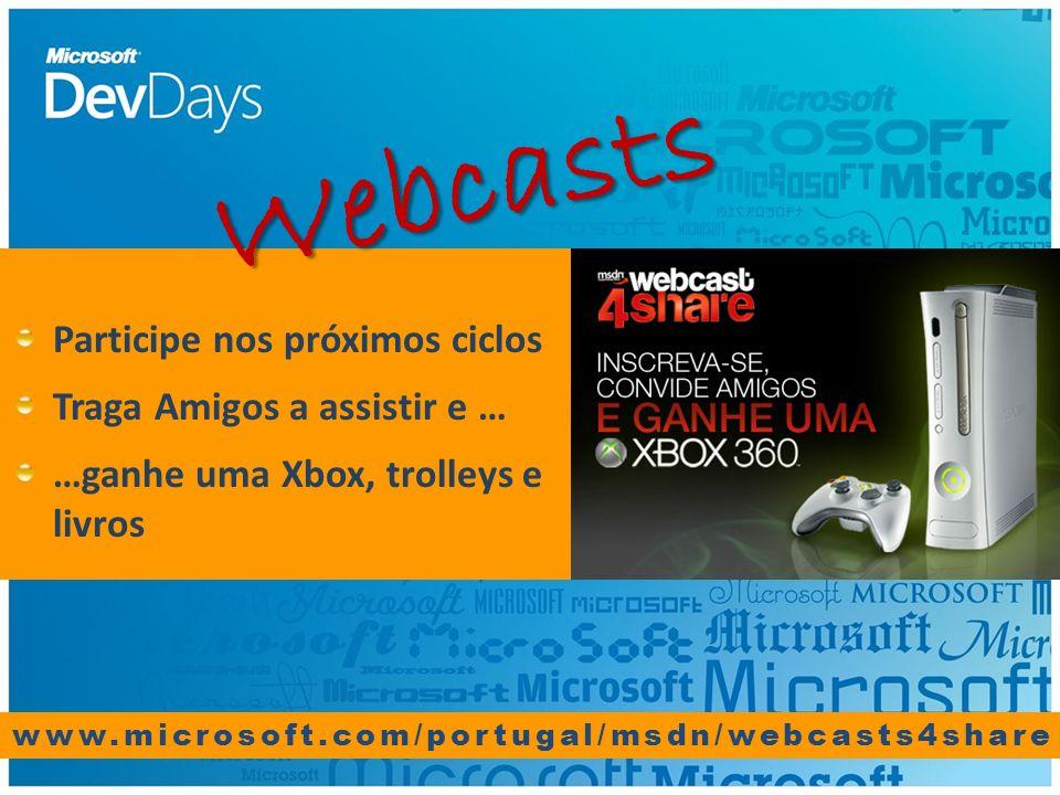www.microsoft.com/portugal/msdn/webcasts4share Participe nos próximos ciclos Traga Amigos a assistir e … …ganhe uma Xbox, trolleys e livros Webcasts