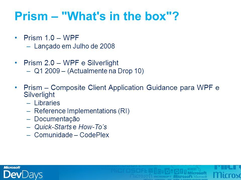 File -> Open -> CWPF\Source\StockTraderRI\StockTraderRI.sln Abrir o Visual Studio In the box: Reference Implementation