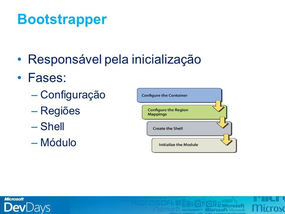 public class OrderDetailsPresenter : IOrderDetailsPresenter { private ICommand orderSubmitCommand; public OrderDetailsPresenter(...) { orderSubmitCommand = … // Register the command Commands.SubmitOrdersCommand.RegisterCommand(orderSubmitCommand) ; } CompositeCommands - Registar Registar command como filho