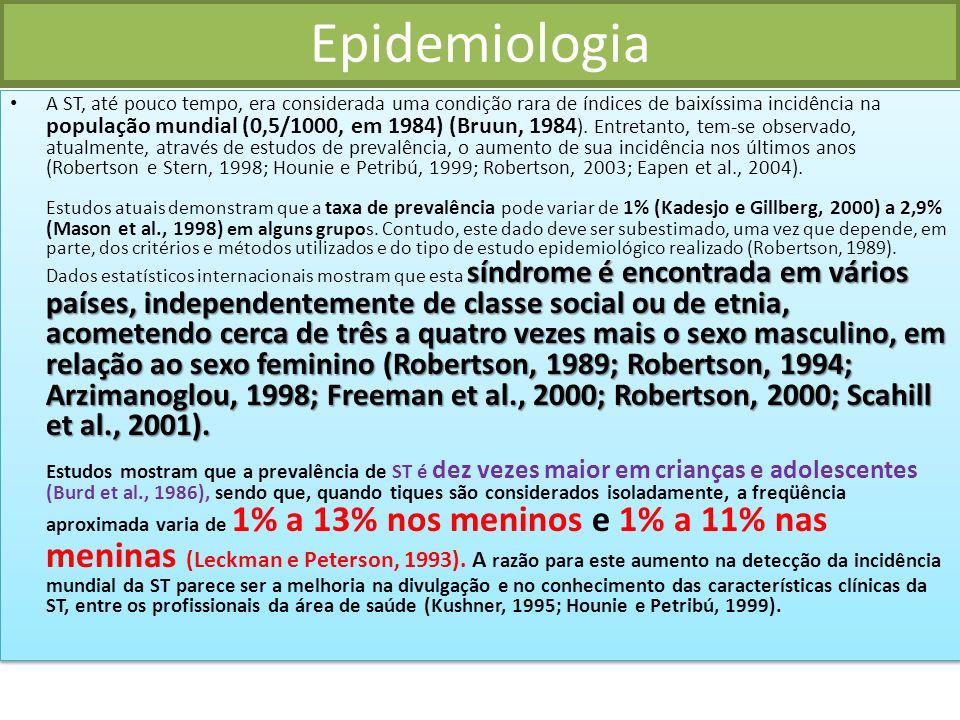 Epidemiologia síndrome é encontrada em vários países, independentemente de classe social ou de etnia, acometendo cerca de três a quatro vezes mais o sexo masculino, em relação ao sexo feminino (Robertson, 1989; Robertson, 1994; Arzimanoglou, 1998; Freeman et al., 2000; Robertson, 2000; Scahill et al., 2001).
