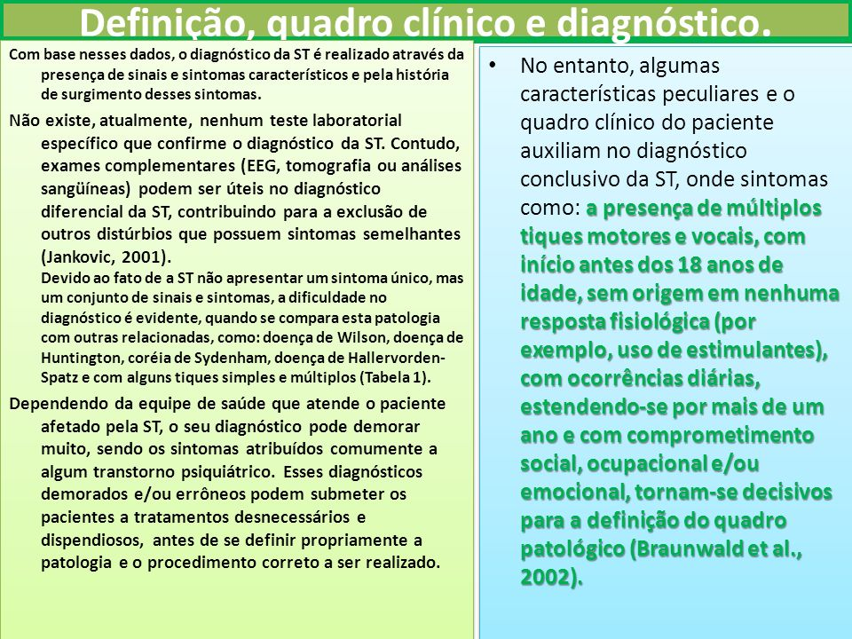 Definição, quadro clínico e diagnóstico.