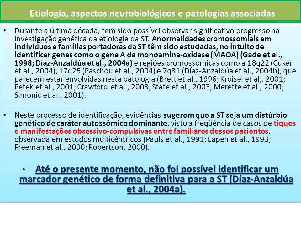 Etiologia, aspectos neurobiológicos e patologias associadas Durante a última década, tem sido possível observar significativo progresso na investigação genética da etiologia da ST.