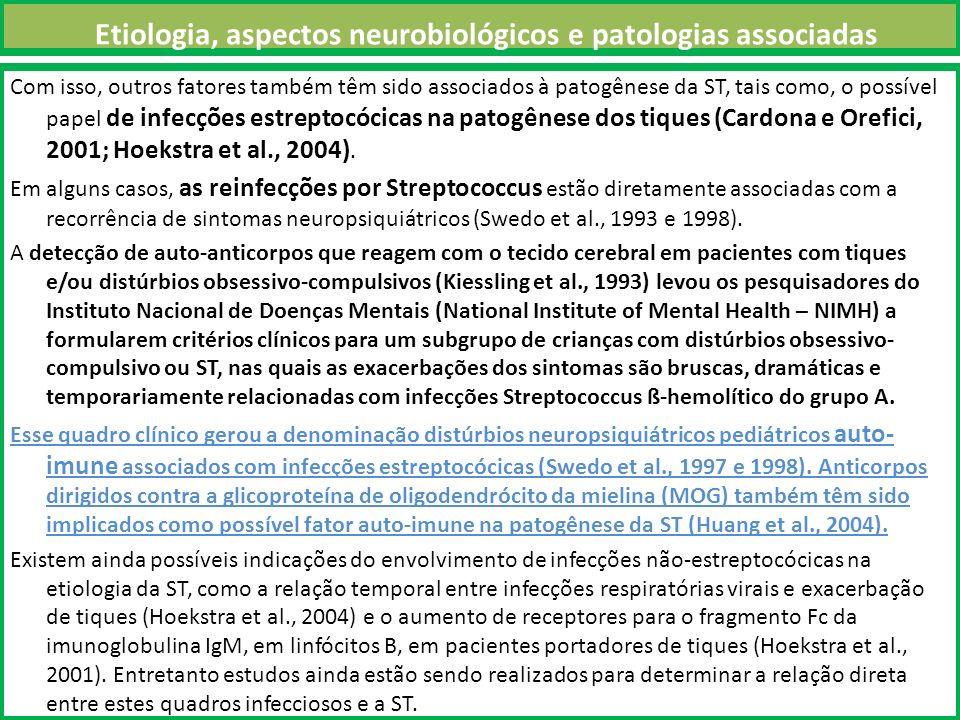 Etiologia, aspectos neurobiológicos e patologias associadas Com isso, outros fatores também têm sido associados à patogênese da ST, tais como, o possível papel de infecções estreptocócicas na patogênese dos tiques (Cardona e Orefici, 2001; Hoekstra et al., 2004).