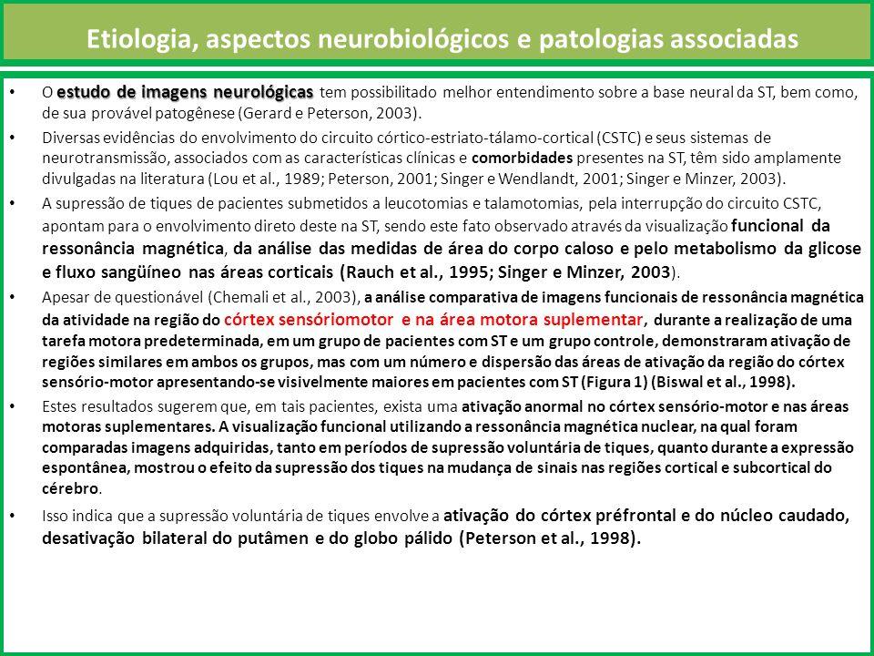 Etiologia, aspectos neurobiológicos e patologias associadas estudo de imagens neurológicas O estudo de imagens neurológicas tem possibilitado melhor entendimento sobre a base neural da ST, bem como, de sua provável patogênese (Gerard e Peterson, 2003).