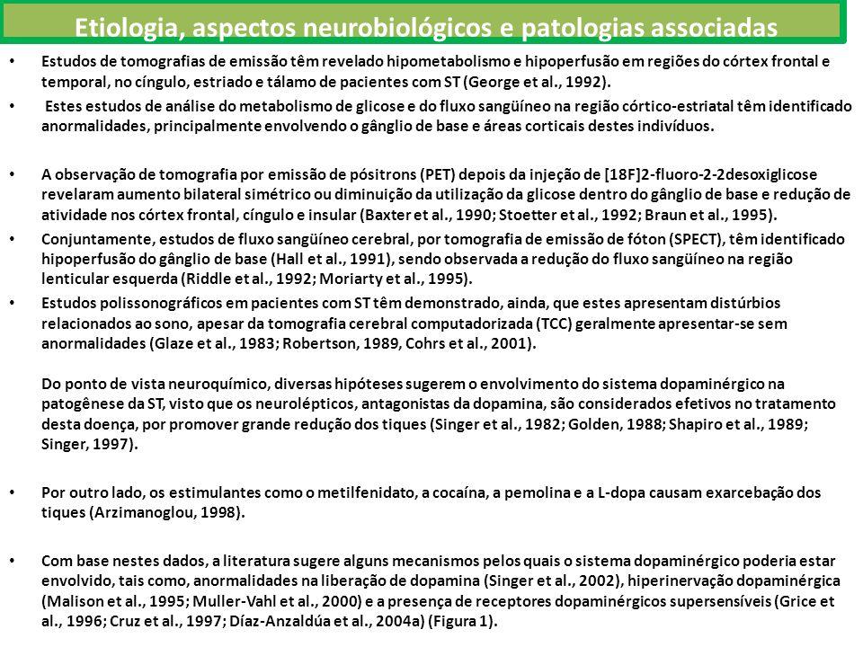 Etiologia, aspectos neurobiológicos e patologias associadas Estudos de tomografias de emissão têm revelado hipometabolismo e hipoperfusão em regiões do córtex frontal e temporal, no cíngulo, estriado e tálamo de pacientes com ST (George et al., 1992).