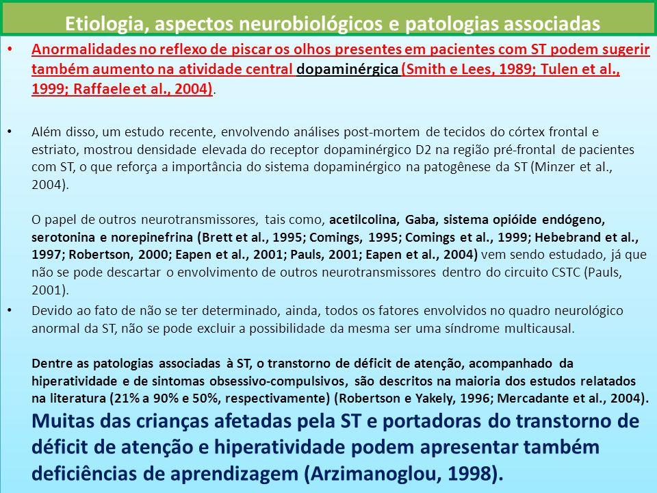 Etiologia, aspectos neurobiológicos e patologias associadas Anormalidades no reflexo de piscar os olhos presentes em pacientes com ST podem sugerir também aumento na atividade central dopaminérgica (Smith e Lees, 1989; Tulen et al., 1999; Raffaele et al., 2004).