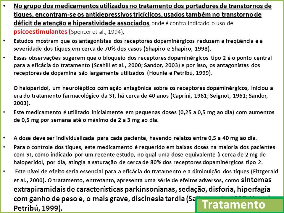 No grupo dos medicamentos utilizados no tratamento dos portadores de transtornos de tiques, encontram-se os antidepressivos tricíclicos, usados também no transtorno de déficit de atenção e hiperatividade associados No grupo dos medicamentos utilizados no tratamento dos portadores de transtornos de tiques, encontram-se os antidepressivos tricíclicos, usados também no transtorno de déficit de atenção e hiperatividade associados, onde é contra-indicado o uso de psicoestimulantes ( Spencer et al., 1994).