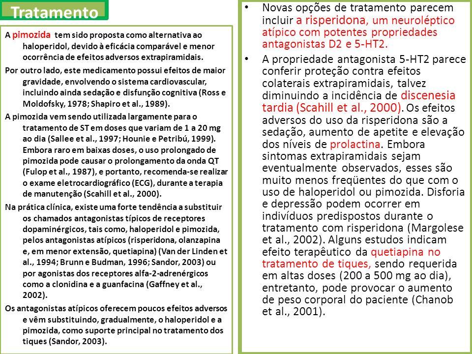 A pimozida tem sido proposta como alternativa ao haloperidol, devido à eficácia comparável e menor ocorrência de efeitos adversos extrapiramidais.