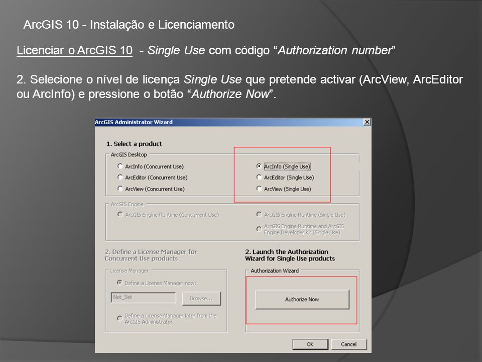 ArcGIS 10 - Instalação e Licenciamento Licenciar o ArcGIS 10 - Single Use com código Authorization number 2.