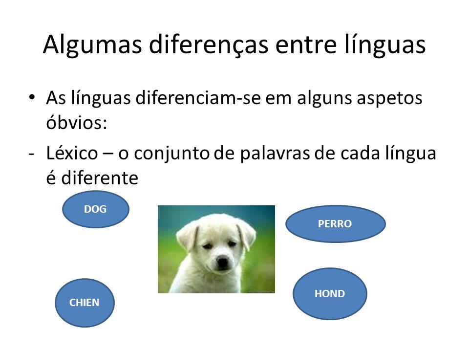 Algumas diferenças entre línguas As línguas diferenciam-se em alguns aspetos óbvios: -Léxico – o conjunto de palavras de cada língua é diferente DOG P