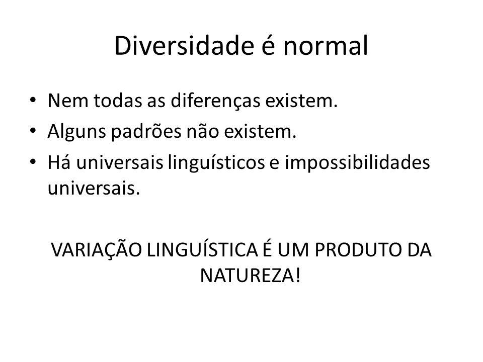 Diversidade é normal Nem todas as diferenças existem. Alguns padrões não existem. Há universais linguísticos e impossibilidades universais. VARIAÇÃO L