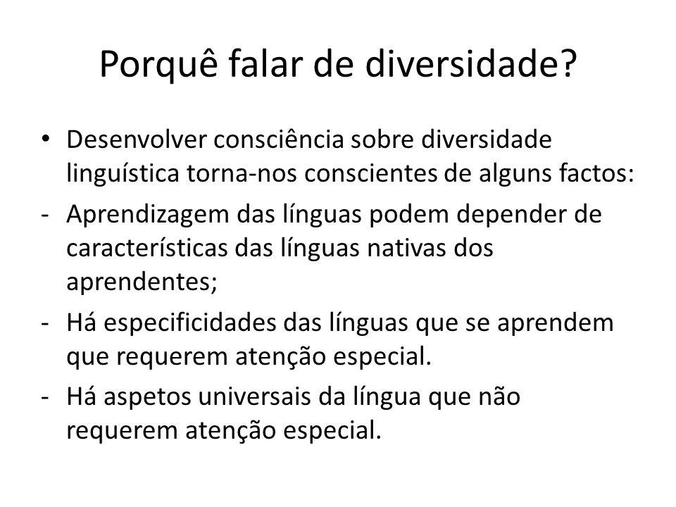 Porquê falar de diversidade? Desenvolver consciência sobre diversidade linguística torna-nos conscientes de alguns factos: -Aprendizagem das línguas p