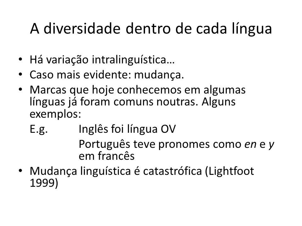 A diversidade dentro de cada língua Há variação intralinguística… Caso mais evidente: mudança. Marcas que hoje conhecemos em algumas línguas já foram