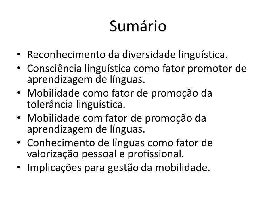 Sumário Reconhecimento da diversidade linguística. Consciência linguística como fator promotor de aprendizagem de línguas. Mobilidade como fator de pr