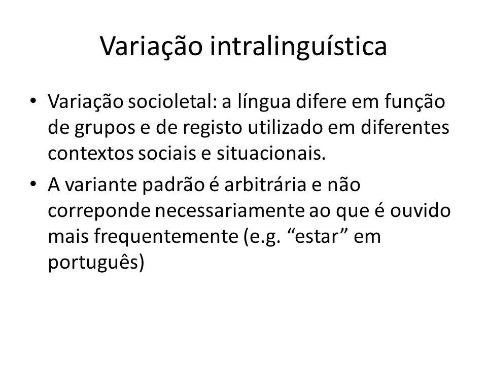 Variação intralinguística Variação socioletal: a língua difere em função de grupos e de registo utilizado em diferentes contextos sociais e situaciona
