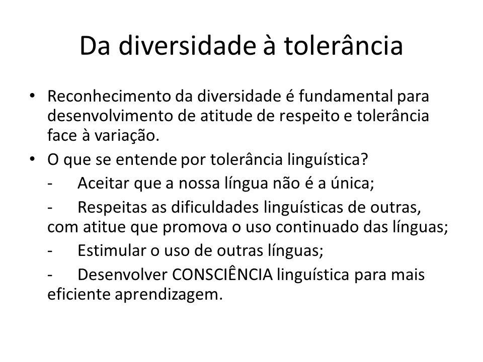 Da diversidade à tolerância Reconhecimento da diversidade é fundamental para desenvolvimento de atitude de respeito e tolerância face à variação. O qu