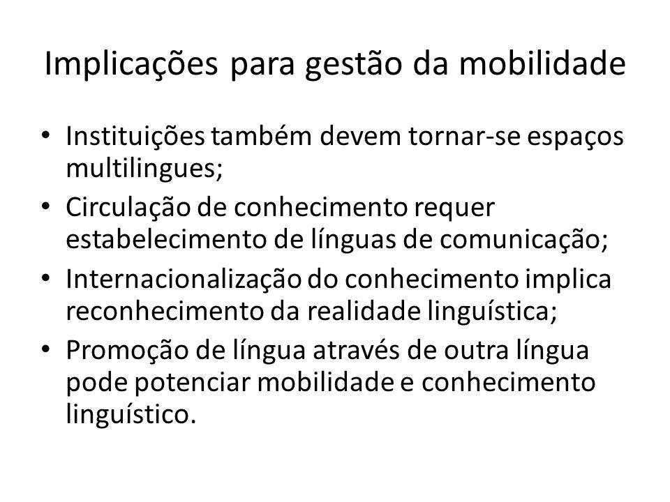 Implicações para gestão da mobilidade Instituições também devem tornar-se espaços multilingues; Circulação de conhecimento requer estabelecimento de l