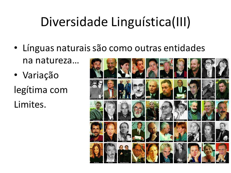 Diversidade Linguística(III) Línguas naturais são como outras entidades na natureza… Variação legítima com Limites.