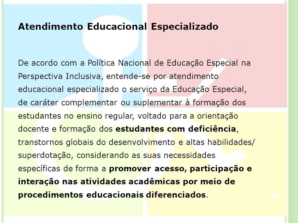 Atendimento Educacional Especializado De acordo com a Política Nacional de Educação Especial na Perspectiva Inclusiva, entende-se por atendimento educ