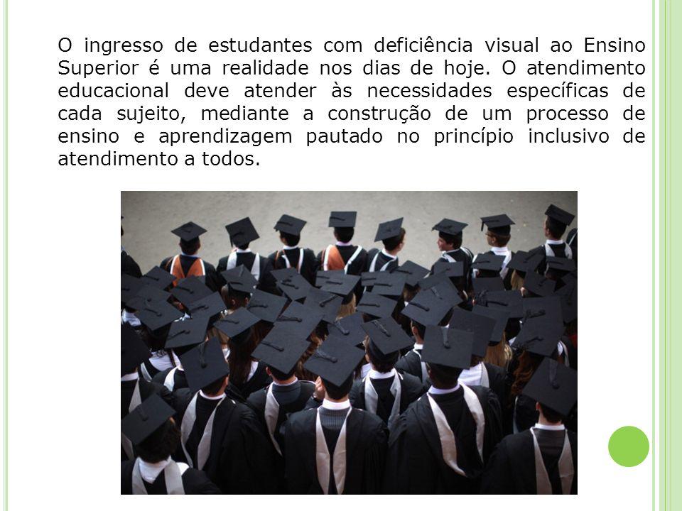 O ingresso de estudantes com deficiência visual ao Ensino Superior é uma realidade nos dias de hoje. O atendimento educacional deve atender às necessi