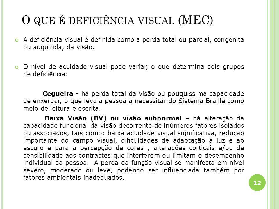 O QUE É DEFICIÊNCIA VISUAL (MEC) A deficiência visual é definida como a perda total ou parcial, congênita ou adquirida, da visão. O nível de acuidade