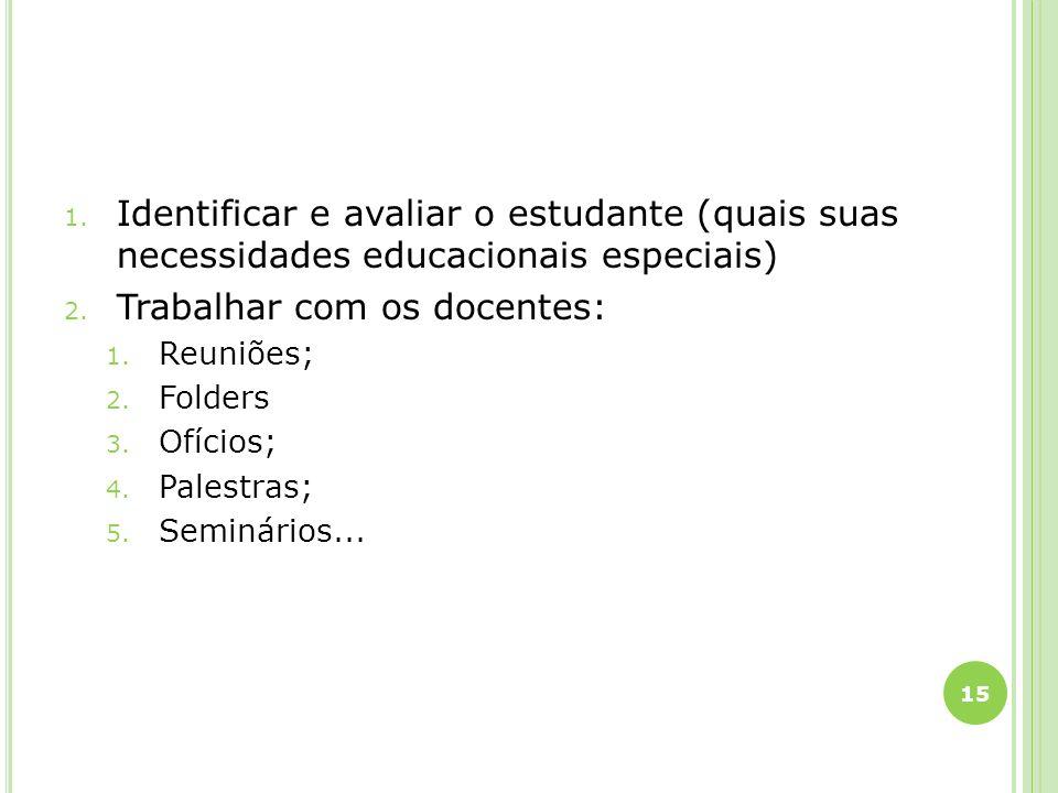 1. Identificar e avaliar o estudante (quais suas necessidades educacionais especiais) 2. Trabalhar com os docentes: 1. Reuniões; 2. Folders 3. Ofícios