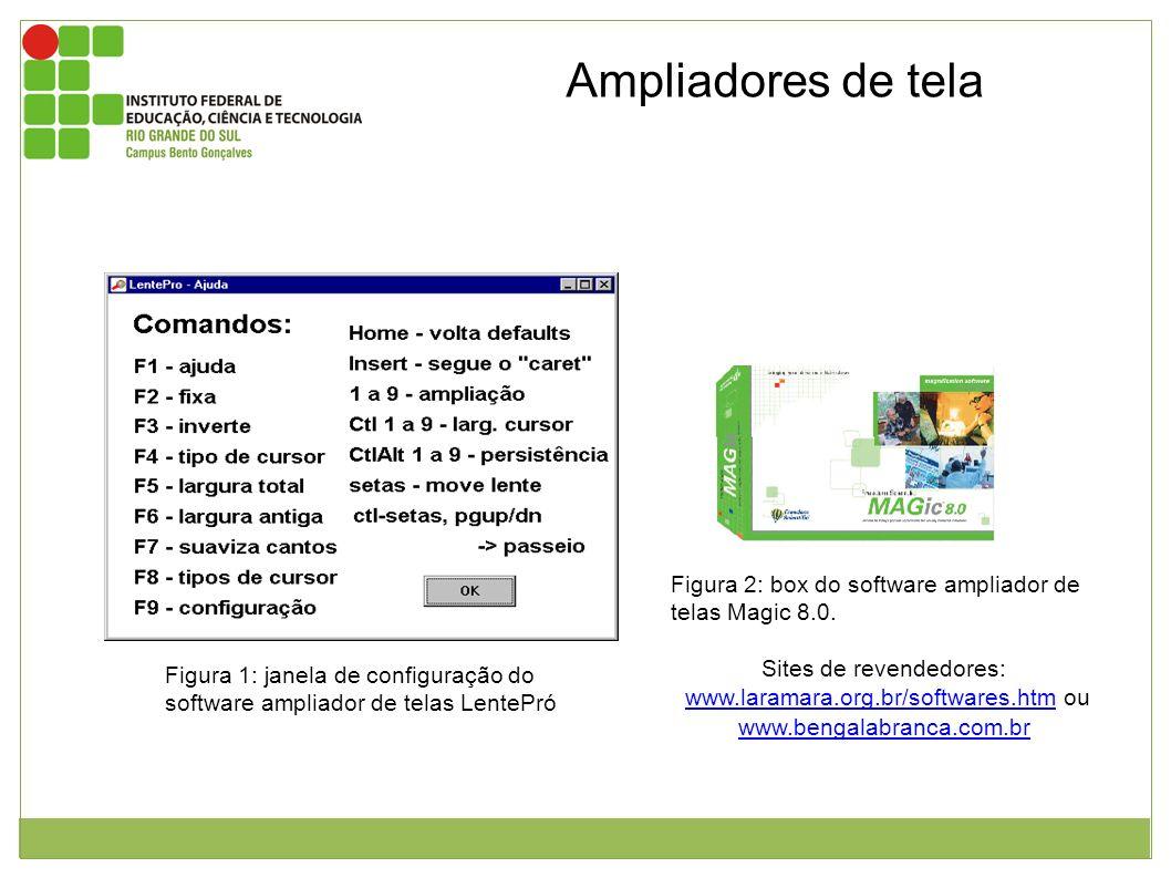 Ampliadores de tela Figura 1: janela de configuração do software ampliador de telas LentePró Figura 2: box do software ampliador de telas Magic 8.0. S