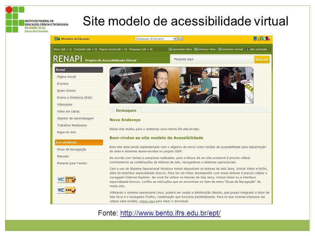 Site modelo de acessibilidade virtual Imagem da página inicial do site modelo RENAPI – Bento Gonçalves RS. Neste encontram-se material de apoio e manu