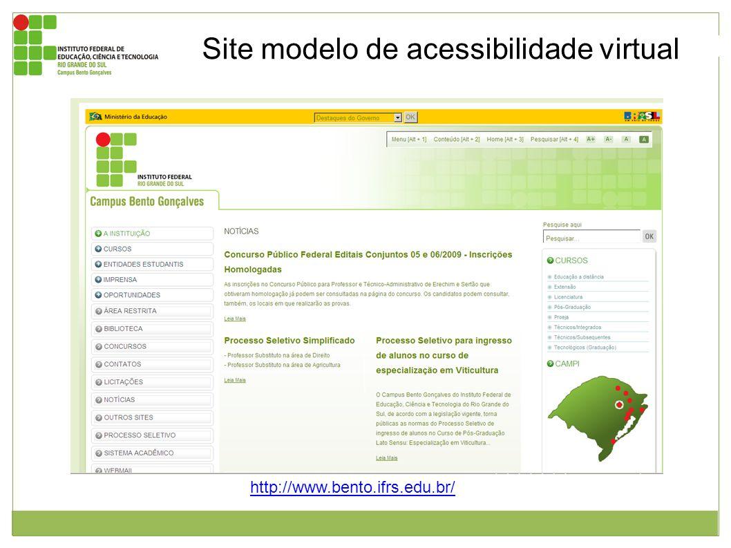 Imagem da página inicial do site do instituto federal de educação, ciência e tecnologia do Rio Grande do Sul – campus Bento Gonçalves. Endereço: http: