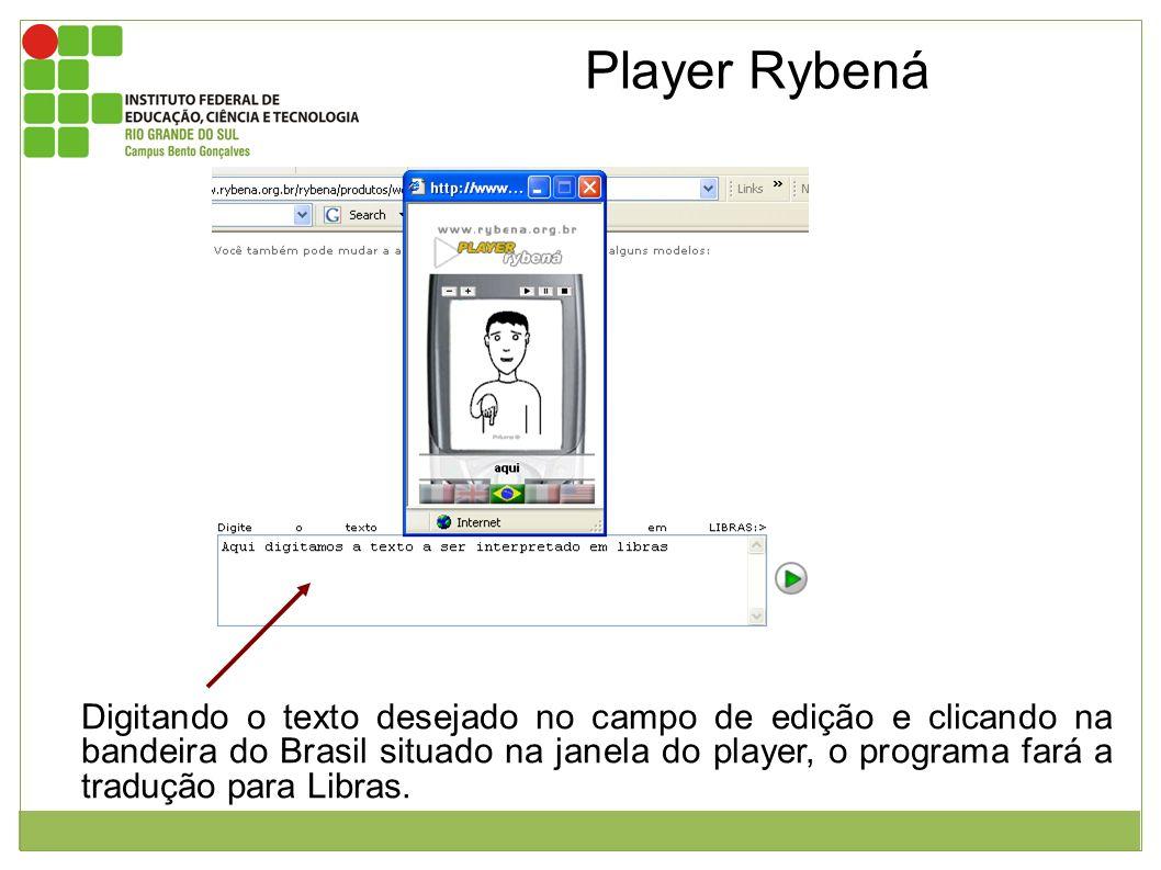 Imagem da página inicial do Player Rybená e janela mostrando a interpretação em libras. Digitando o texto desejado no campo de edição e clicando na ba