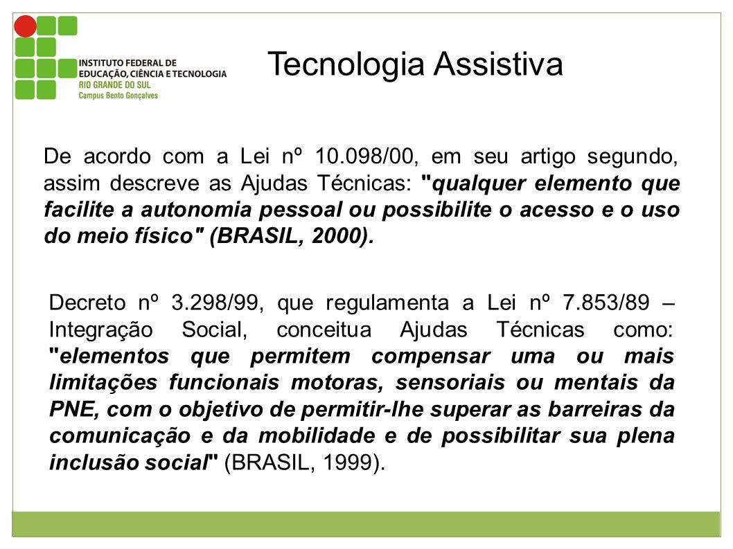 Tecnologia Assistiva De acordo com a Lei nº 10.098/00, em seu artigo segundo, assim descreve as Ajudas Técnicas: