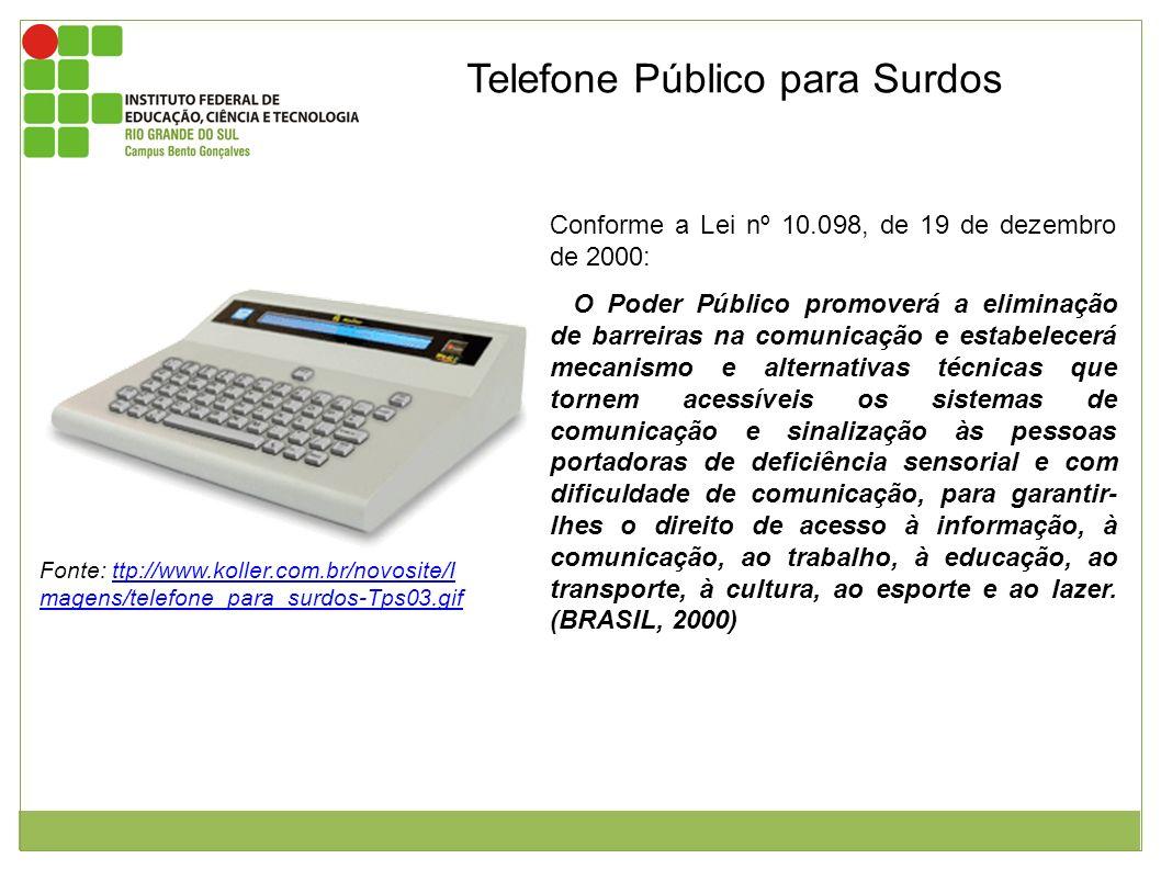 Telefone Público para Surdos Figura 1: Telefone para Deficientes Auditivos e com deficiência físico-motoras. Fonte: ttp://www.koller.com.br/novosite/I