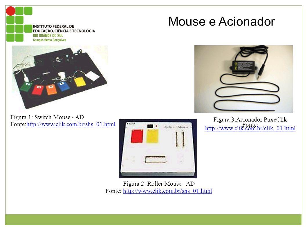 Figura 1: Switch Mouse - AD Fonte:http://www.clik.com.br/shs_01.htmlhttp://www.clik.com.br/shs_01.html Equipamento para ser adaptado ao mouse onde est