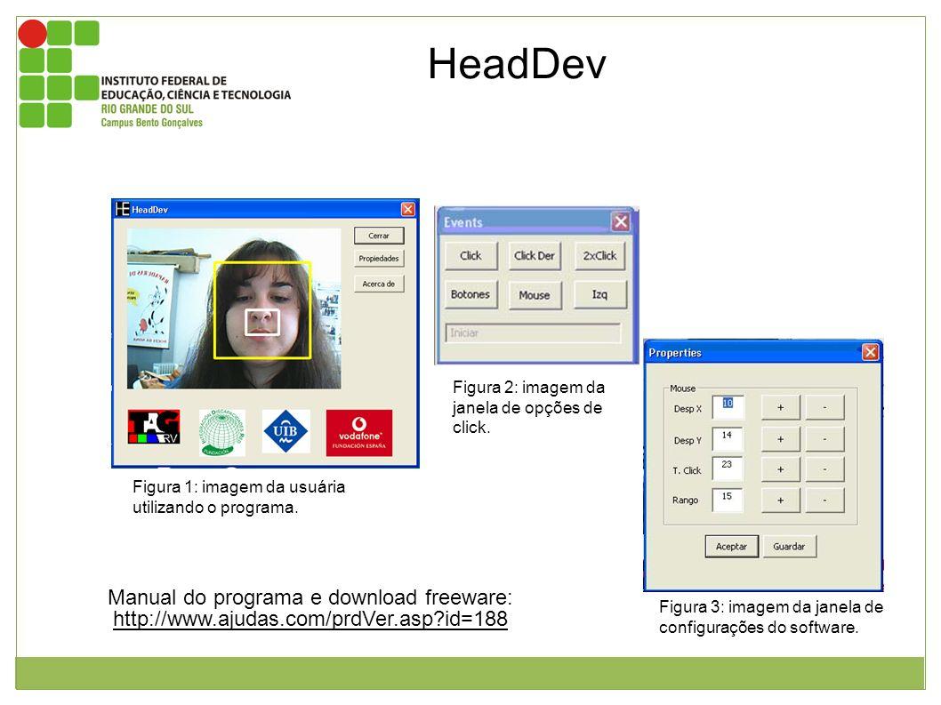 HeadDev é um software que é utilizado em conjunto a uma webcam. O software capta a imagem da webcam e identifica o ponto mais próximo da mesma. Neste